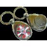 Llavero metálico personalizado con moneda de carro.