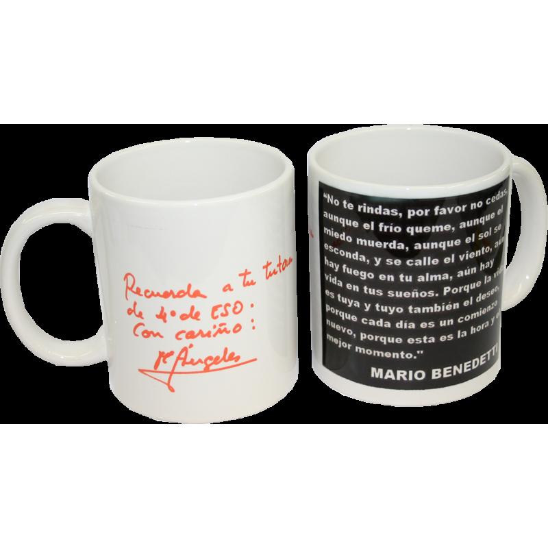 EJEMPLO de personalizaión de taza blanca de cerámica.