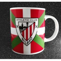EJEMPLO de personalizaión de taza blanca de cerámica. con ikurriña y escudo del Athletic.