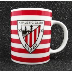 EJEMPLO de personalizaión de taza blanca de cerámica, con franjas rojas y escudo de lAthletic.