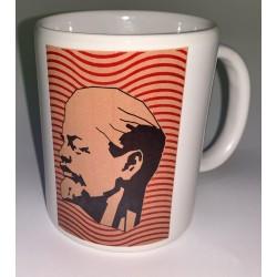 EJEMPLO de personalizaión de taza blanca de cerámica, con efigie moderna de Lenin.