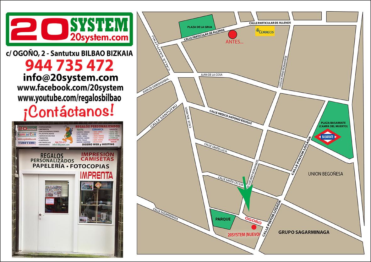 Entrada a la tienda y mapa de ubicación.